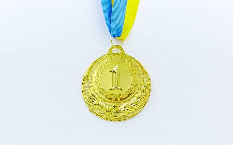 Медаль спортивная с лентой ZING d-6,5см (металл, d-6,5см, 38g золото, серебро, бронза) Золотой PZ-C-4329_1