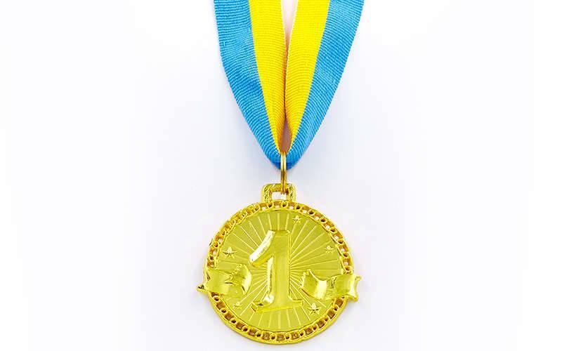 Медаль спортивная с лентой ZIP d-4,5см (металл, 1-золото,2-серебро,3-бронза d-4,5см, 20g) Золотой PZ-C-6404_1
