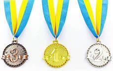 Медаль спортивная с лентой ZIP d-4,5см (металл, 1-золото,2-серебро,3-бронза d-4,5см, 20g) Золотой PZ-C-6404_1, фото 2