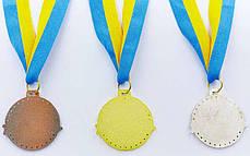 Медаль спортивная с лентой ZIP d-4,5см (металл, 1-золото,2-серебро,3-бронза d-4,5см, 20g) Золотой PZ-C-6404_1, фото 3