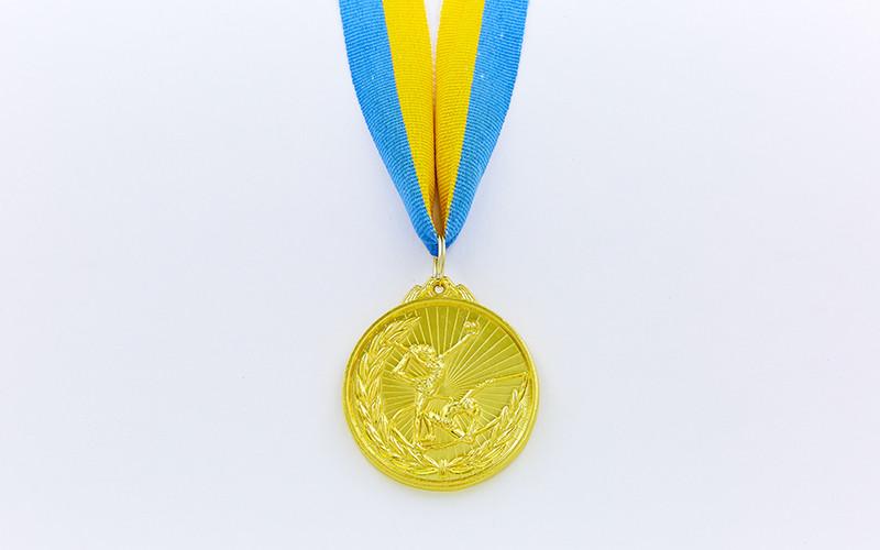 Медаль спортивная с лентой Гимнастика d-5см (металл, d-5см, 25g, 1-золото, 2-серебро, 3-бронза)