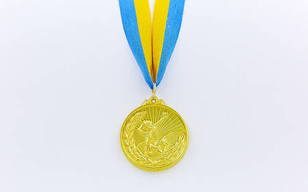 Медаль спортивная с лентой Гимнастика d-5см (металл, d-5см, 25g, 1-золото, 2-серебро, 3-бронза), фото 2