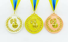 Медаль спортивная с лентой двухцветная d-6,5см Волейбол (металл, покрытие 2 тона,56g золото, серебро, бронза) Золотой PZ-C-4850_1, фото 2