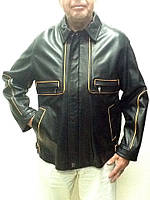 Куртка мужская с кантом демисезонная кожаная натуральная