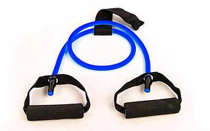 Эспандер трубчатый с ручками с дверным фиксатором 6LB (латекс, d-8,5x6мм, l-120см, синий) PZ-FI-2659-B, фото 2