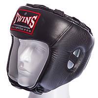 Шлем боксерский открытый кожаный Twins (M-XL) Черный S PZ-HGL-8_1