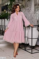 Нежное женское платье свободного силуэта большого размера, размеры 50-52, 54-56, 58-60