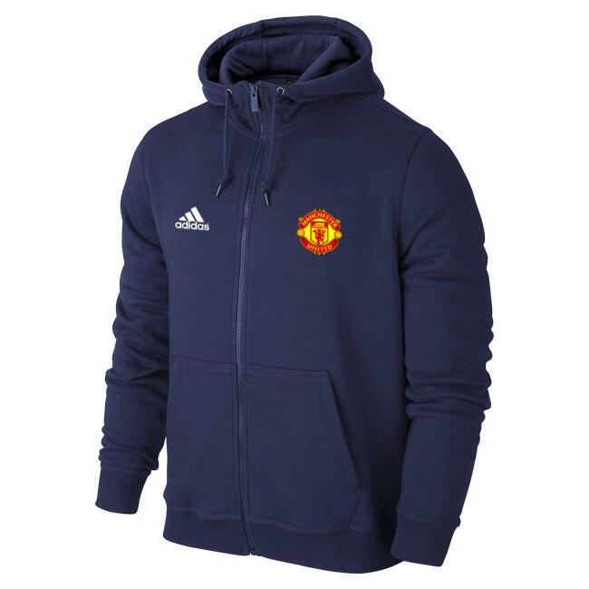Футбольная кофта, толстовка клубная, кофта Манчестер Юнайтед Адидас, ManchesterUnited, Adidas, с капюшоном, синяя