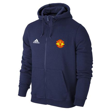 Футбольная кофта, толстовка клубная, кофта Манчестер Юнайтед Адидас, ManchesterUnited, Adidas, с капюшоном, синяя, фото 2