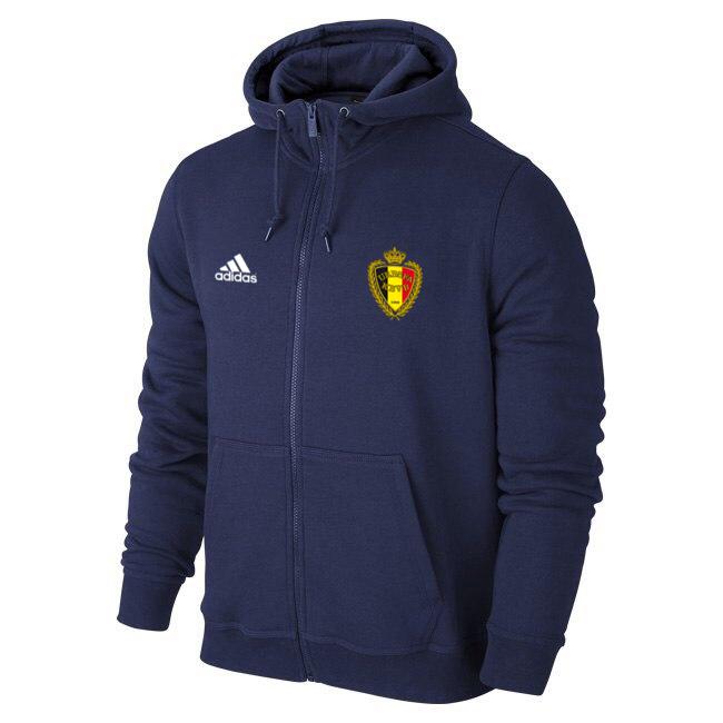 Футбольная кофта, толстовка клубная, кофта сборной Бельгии Адидас, Belgium, Adidas, с капюшоном, синяя