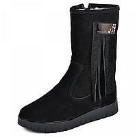 Жіночі черевики чорні з натуральної шкіри замш р р. 36 37 38 39 40, фото 1