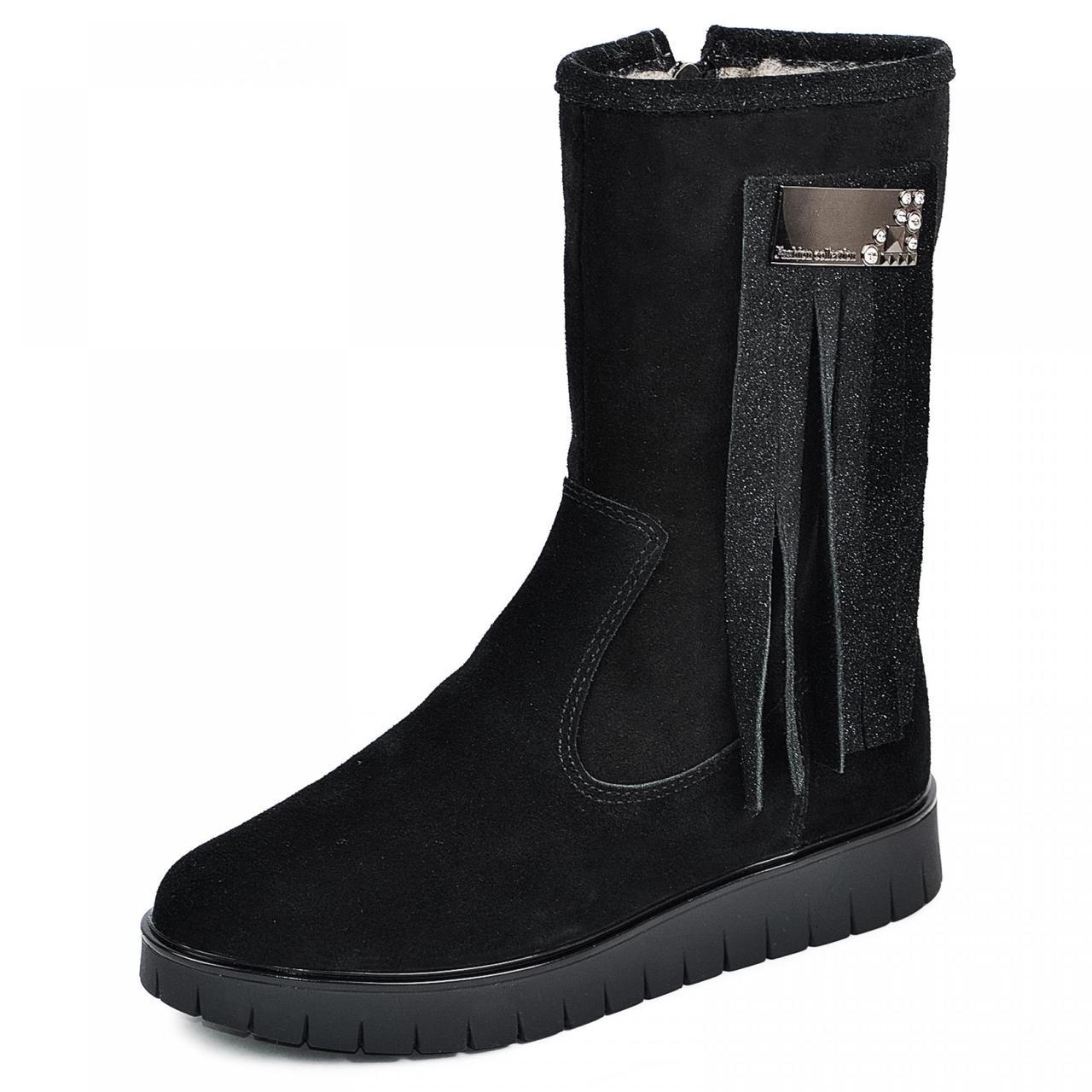 Жіночі черевики чорні з натуральної шкіри замш р р. 36 37 38 39 40
