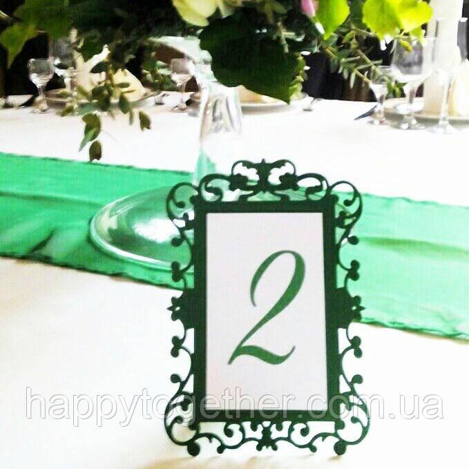 Номерки на столи, різьблені смарагдові