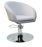 Крісло перукарське для клієнтів Мурат P екошкіра, колір білий, гідравліка, диск. Крісло для візажиста