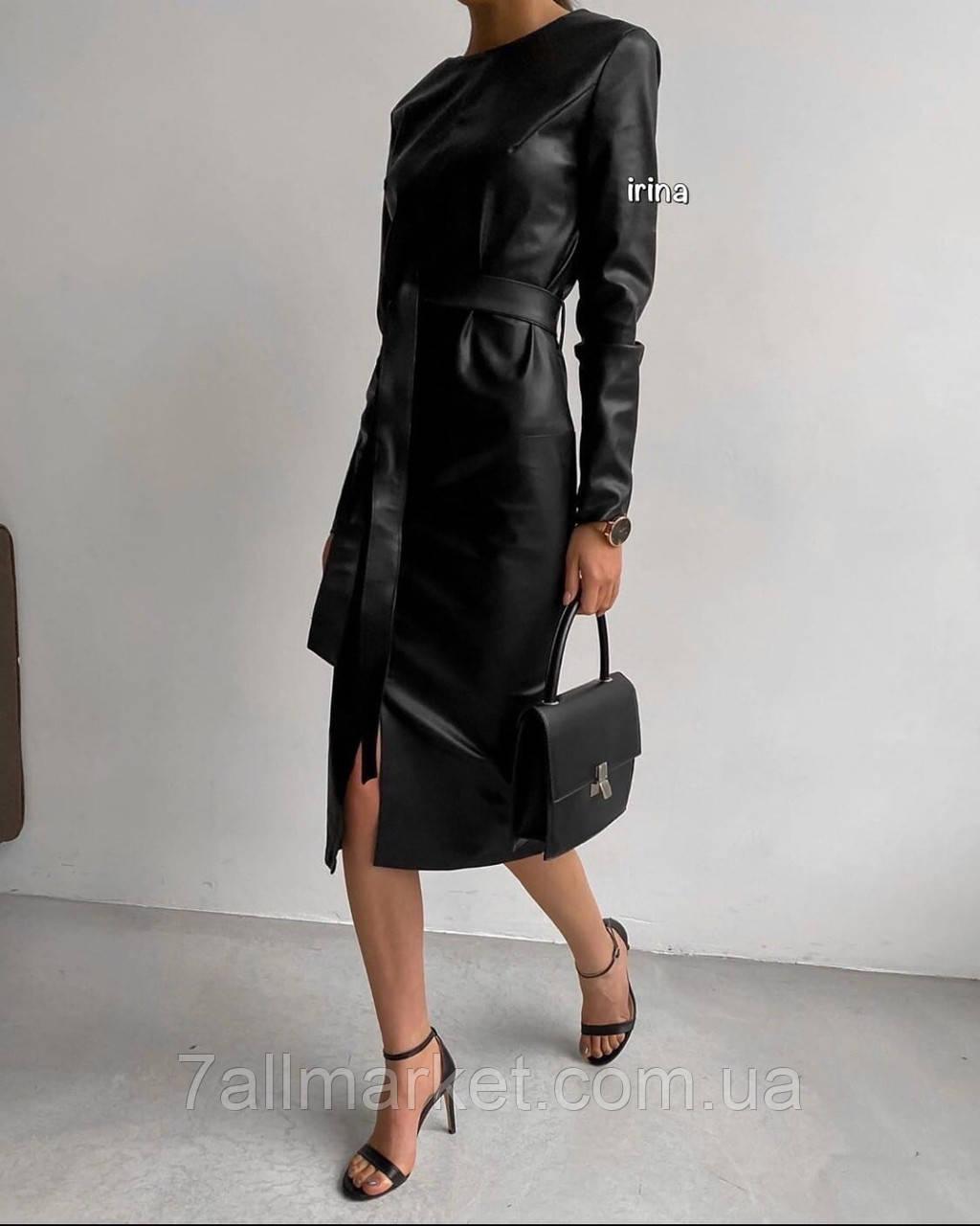 """Платье женское стильное эко-кожа с поясом, размеры S-L """"IRINA"""" купить недорого от прямого поставщика"""