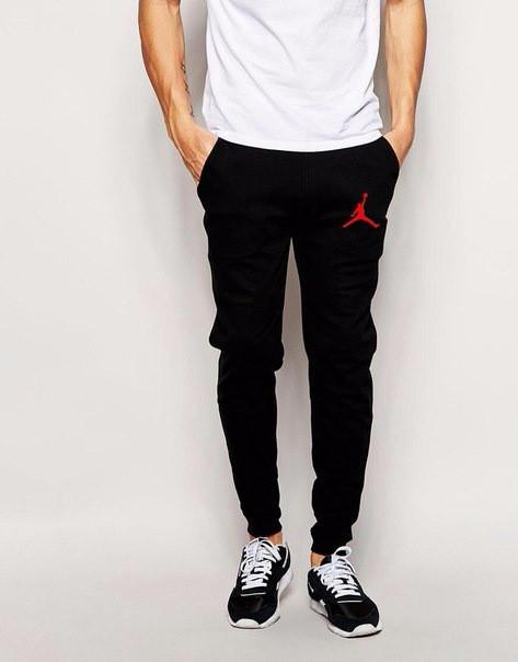 Спортивні штани Джордан, штани чоловічі Jordan, чорні, трикотажні, з манжетом