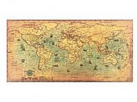 Карта мира на стену The World винтажная 100 см х 50 см