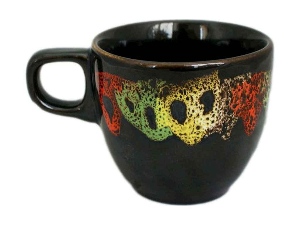 Чашка 200мл Кавова повнокольоровий чорний глянсовий малюнок Камінці (6шт. в уп
