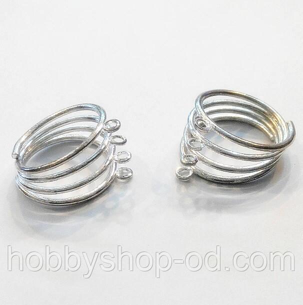 Основа для кольца 4 петли (диам. 20 мм) 100 шт. св. серебро