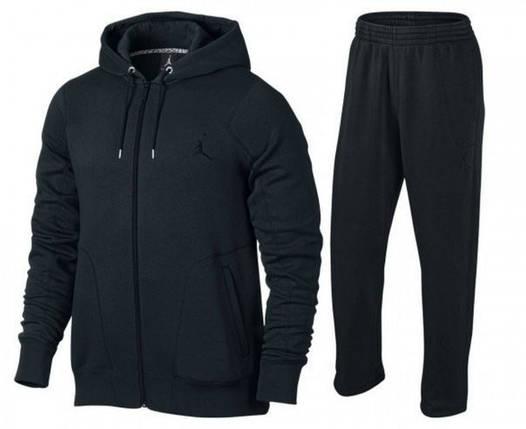 Спортивный костюм Джордан, мужской костюм джордан, черный, кенгуру, трикотажный, фото 2