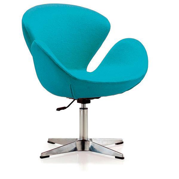 Крісло Сван, підстава метал, тканина, колір блакитний