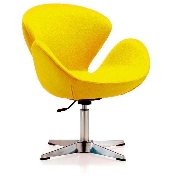 Кресло Сван, мягкое, металл, ткань, цвет желтый