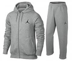 Спортивный костюм Джордан, мужской костюм Jordan, серый, на молнии, большие размеры