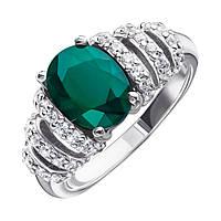 Серебряное кольцо с зеленым агатом и фианитами 000138191 000138191 15.5 размер
