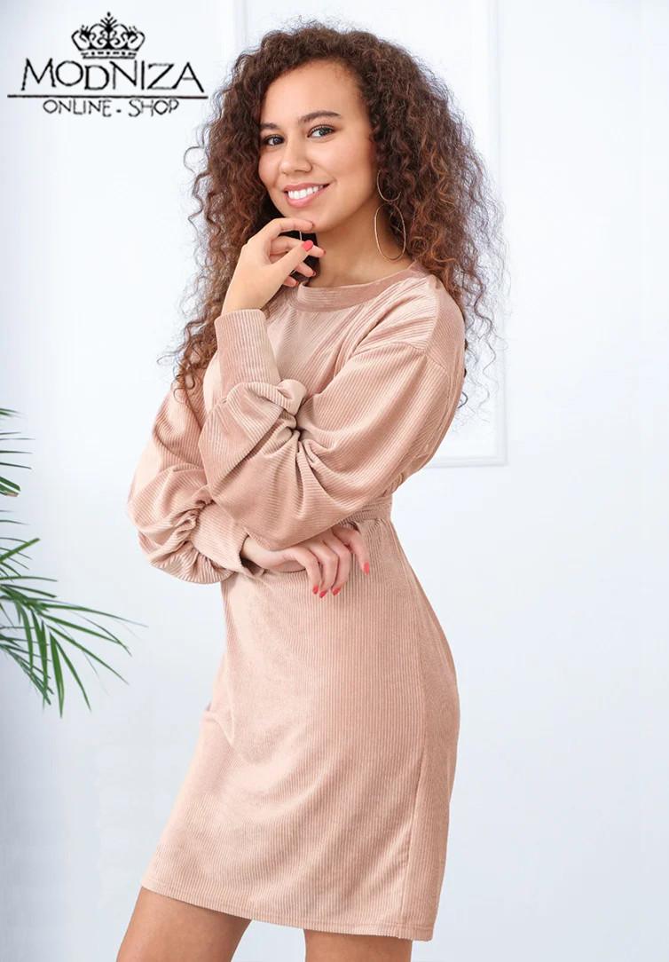 """Вельветовое женское платье с пояском """"Monica"""".Распродажа"""