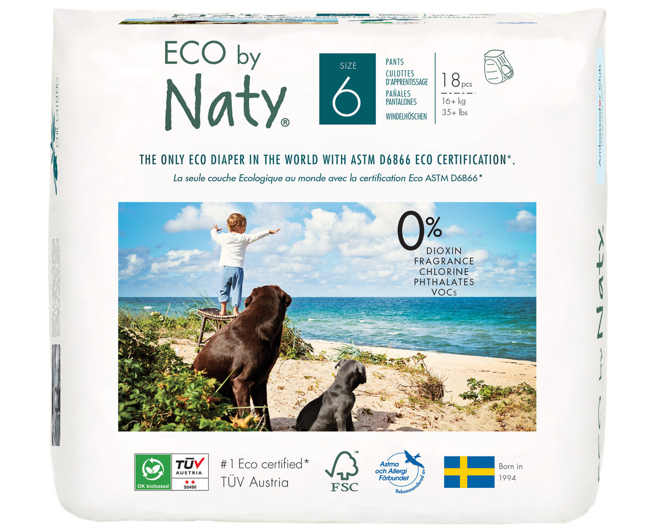 Органические подгузники трусики Eco by Naty Размер 6 (от 16+ кг) 18 шт