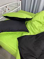 Полуторный комплект.Черно-салатовое постельное постельное белье Простыня на резинке