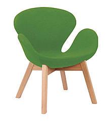 Кресло Сван Вуд Армз, ножки дерево бук, ткань, цвет зеленый