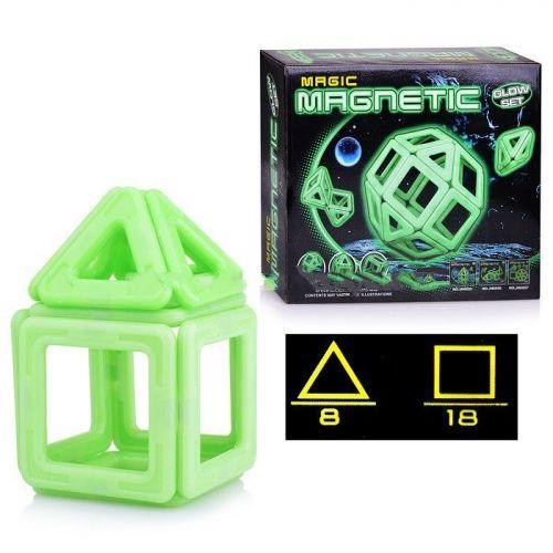 """Конструктор магнитный """"Magic Magnetic"""", светящийся  (26 деталей) JH6896"""