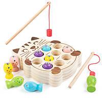 Деревянная игрушка Игра рыбалка «Котик», развивающие товары для детей.