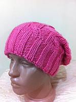 Молодёжная  двойная шапка   крупной  вязки жгут