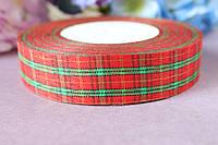 """Лента  """"Шотландка"""", зеленый+красный мелкая клетка"""