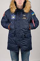 Аляска Olymp з нашивками Ukrainian Falcons - Аляска N-3B, Slim Fit, Navy