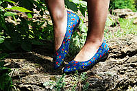 Синие женские летние тканевые балетки в цветочек. Арт-0098, фото 1