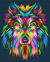 "Картина по номерам BrushMe (Брашми) ""Радужный волк"" 40х50см GX23828"