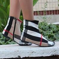 Весенне-осенние стильные женские тканевые ботинки клетка барбари. Арт-0105, фото 1