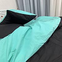 Полуторный комплект. Черно-ментоловое постельное постельное белье Простыня на резинке