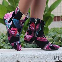 Яркие весенне-осенние женские стильные тканевые ботинки на низком ходу. Арт-0106
