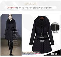 Пальто стеганое черное с мехом