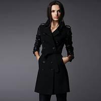 Пальто  черное с кожаными рукавами