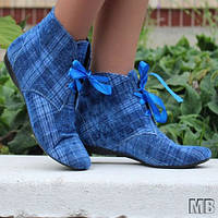 Вельветовые яркие синие женские тканевые ботинки  в клетку и на шнуровке. Арт-0115, фото 1