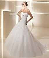 Свадебное платье принцесса пышное открытое декольте без бретелек  силует