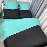 Черно-ментоловое постельное постельное белье. Евро комплект Простыня на резинке