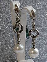 Серебряные серьги с Жемчугом серебро 925 висячие серьги Жемчуг