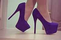 Туфли Giuseppe Zanotti фиолетовые на высоком каблуке