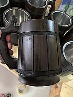 Деревянный бокал из натурального дерева дуба с металлической вставкой, фото 1